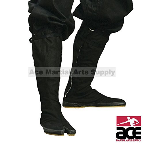 Ninja Boot (Ninja Tabi Boots, Black Jikatabi (Outdoor Tabi) with Free Tabi Socks ($6 value) -)