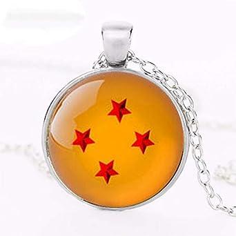 Dragon Ball z - Collar de 4 estrellas inspirado en la bola de dragón, collar de cabujón de cristal
