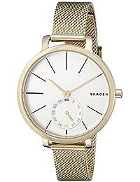 Skagen SKW2436 Reloj para Mujer Redondo, Análogo, color Blanco y Oro