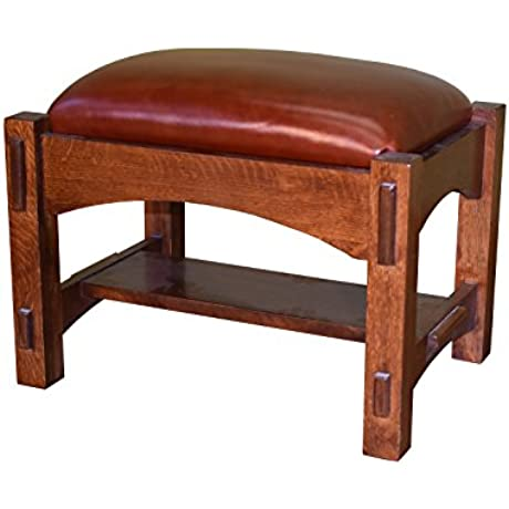 Crafters And Weavers Solid Oak Mission Style Leather Upholstered Foot Stool