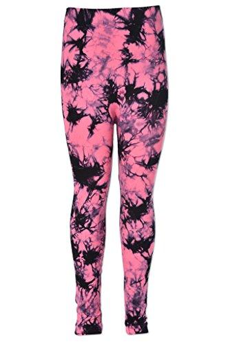 Poof [990213K-PNK-S/M] Leggings for Girls – Tie-Dye Printed Pattern