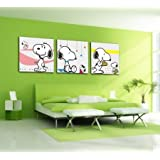 Bernice -Canvas Art,Canvas Print,No Framed,Lovely Painting,Snoopy,3 Panel Print,Hot Sell Modern Canvas Wall Art...