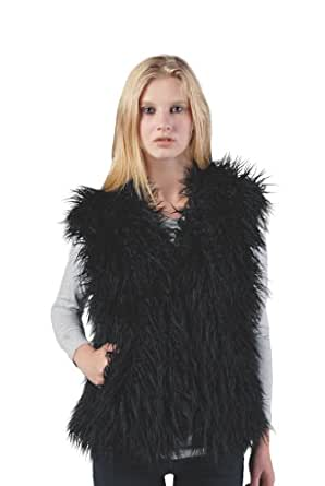 Sucette Rose Faux Mongolian Fur Vest in Black, X-Large