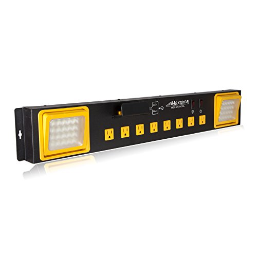 Maxxima 8 Outlet Workshop Heavy Duty Power Station with 2 Port USB and LED Worklight, 1000 Lumens 6000K by Maxxima (Image #1)