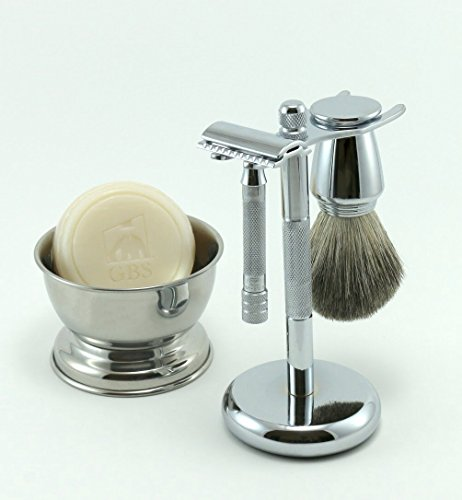 Merkur Shaving Gift Set 33C Short Handle Safety Razor with Pure Badger Bristle Brush Shaving Stand and Bowl GBS Shave Soap Included! (Merkur Model 180 Long Handled Safety Razor)
