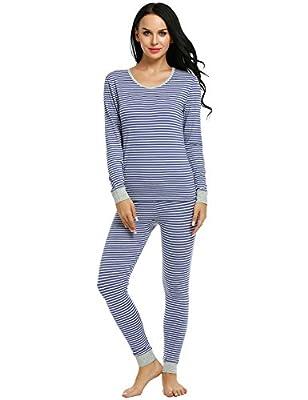 Ekouaer Pajama Sets Womens Fitted 2 Pcs Cotton Pjs Long Top & Pant Sleepwear Set S-XXL