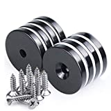 Black Epoxy Coated Neodymium Disc Countersunk Hole Magnets. Strong Permanent Rare Earth Magnets with Screws