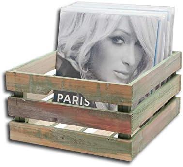 Vinyl records wood box vintage