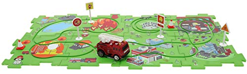 (Perfect Life Ideas Fire Engine Vehicle Puzzle Track Play Set - Battery Operated Toy Themed Style Vehicle Runs on Interchangeable Puzzle Tracks - Make up to 50 Track Combinations)