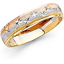 Solid 14k Yellow White Rose Gold Band Wedding Ring Diamond Cut Star Dome Mens Womens Tri Color 4 mm