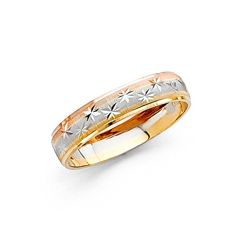 Solid 14k Yellow White Rose Gold Band Wedding Ring Diamond Cut Star Dome Mens Womens Tri Color 4 mm, Size 4.5 (Color Tri Ring Comfort Fit)