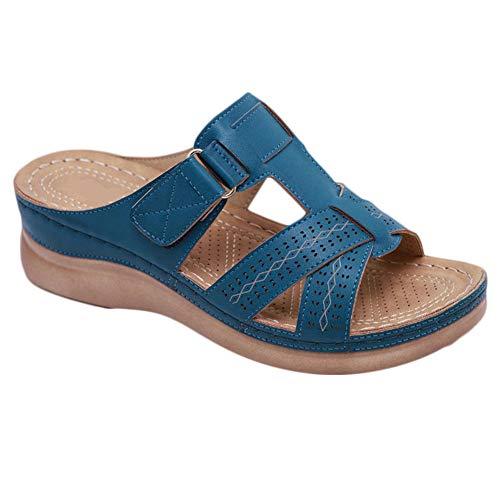 Women Comfy Slope Heel Sandal 2019 New Premium Orthopedic Open Toe Shoes Summer Travel Shoes 8.5 Blue