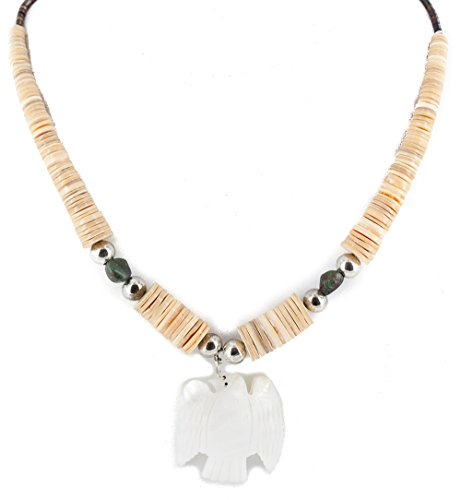 Native-Bay $300Tag Certified Silver Navajo Turquoise Graduated Shell Bird Necklace 750124-1 Made by Loma Siiva