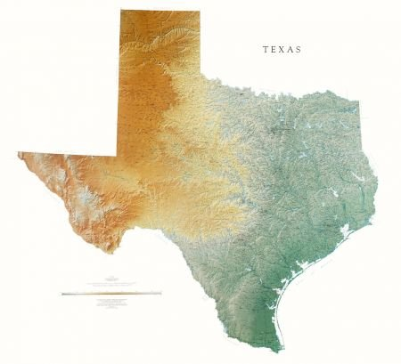 Amazon.com : Texas Topographic Wall Map by Raven Maps, Print on ...