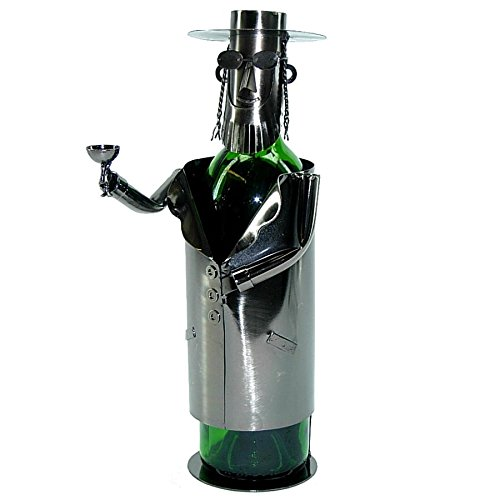 WINE BODIES ZB750 Jew Rabbi Metal Wine Bottle Holder, Charcoal - Rabbi Wine Bottle