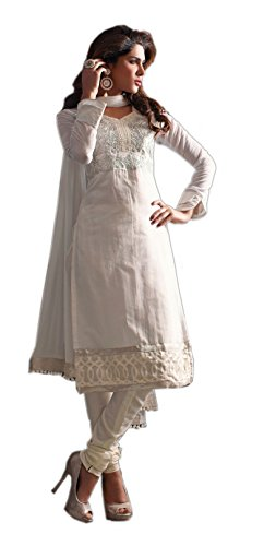 White Party Wear Embroidery Work Bollywood Designer Cotton Salwar Kameez Suit