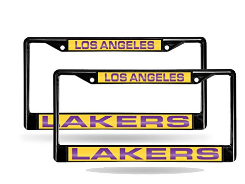- Rico Los Angeles LA Lakers Black Metal (2) Laser License Plate Frame Set