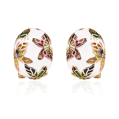 Olsen Twins Colorful Cloisonne Enamel Gold Butterfly Clip on Stud Earrings for Women ()