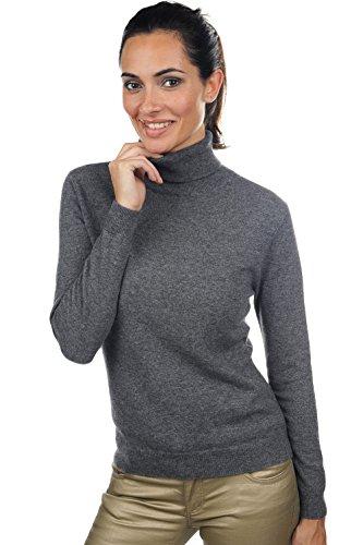 Pullover Pullover collo da da Anthracite donna Chiné alto cachemire FFgwBrnqS
