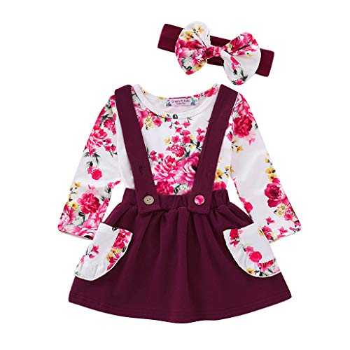 3Pcs Toddler Infant Baby Girls Ruched Tops Floral Print Overall Dresses Headbands Outfits Clothes Set (6-12 Months, Wine)