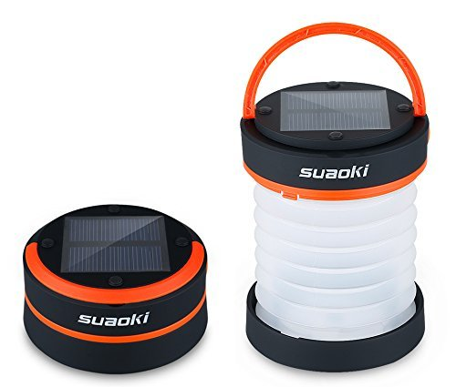 Suaoki Led Camping Lantern Lights Rechargeable Battery (Powered By Solar Panel and USB Charging)