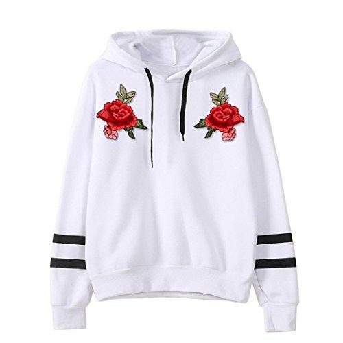 Print Blouse,Han Shi Womens Long Sleeve Hoodie Sweatshirt Fleece Appliques Pullover Tops (XL, White)