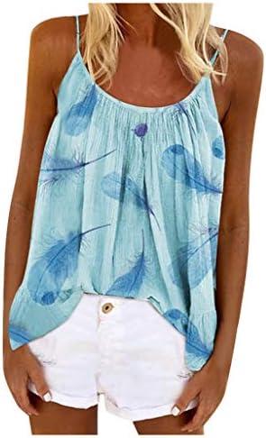 Memela Women`s Casual Spaghetti Strap Tank Top V Neck Sleeveless Blouses Fashion Plus Size Feather Printed Camisole Shirts