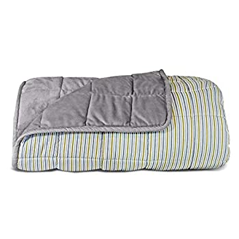 Image of Titan 15 Pound Weighted Blanket, Queen Size 60'x80', Reversible Blanket with Minky Faux Fur Gray Side and Striped, Soft Cotton Side Titan Performance Products B07TMS7QFN Weighted Blankets