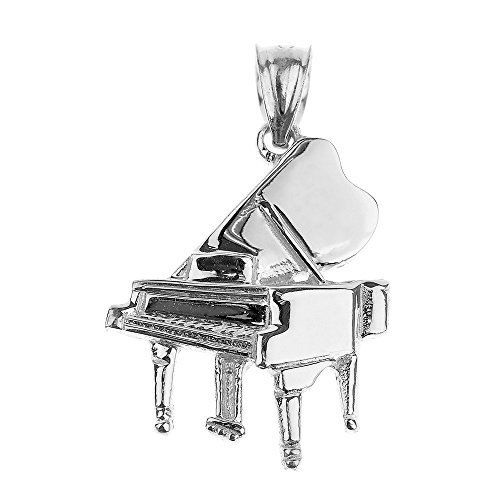 925 Sterling Silver Music Charm Grand Piano Pendant