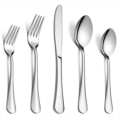 (Silverware Set Service for 2, E-far 10-Piece Stainless Steel Flatware Set Cutlery Set, Include Knife/Fork/Spoon, Simple & Classic Design, Easy Clean & Dishwasher Safe)