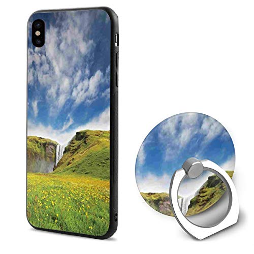 "Waterfall Landscape with Daisies Full Body Protection Drop Shock PC Material Anti-Fall Anti-Fingerprint Classic Black Border iPhone X Case (5.8"")+Ring Bracket Combination -  TroyTyson, TroyTyson-3741738"