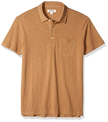 Goodthreads Men's Lightweight Slub Pocket Polo Shirt, Tan, X-Small