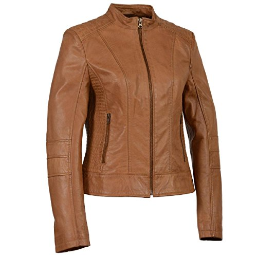 Collar Zip Front Leather Jacket - 9