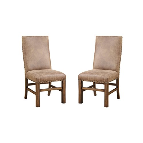Emerald Home Chambers Creek Brown Upholstered Dining Chair with Nailhead Trim, Set of Two