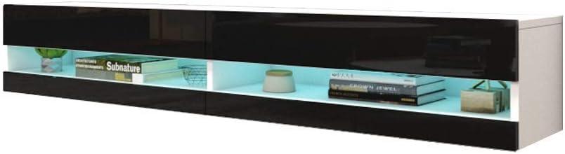 "MEBLE FURNITURE & RUGS Vigo New 180 LED Wall Mounted 71"" Floating TV Stand (White/Black)"