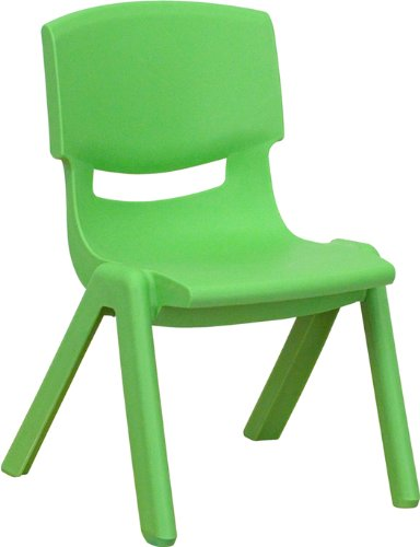 Flash Furniture YU-YCX-003-GREEN-GG Green Plastic Stackable School Chair with 10-1/2-Inch Seat Height (Flash Furniture Chairs)