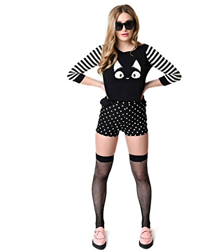 Steady-Rockabilly-Black-White-Dot-High-Waist-Bombshell-Shorts