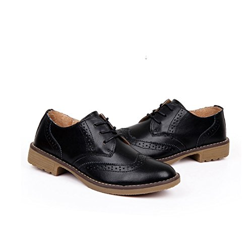 Black Women's JULY Wingtip Heel T Performance Retro Oxfords Perforated Vintage Low Shoes Soft Shoes S4wdOqd5R