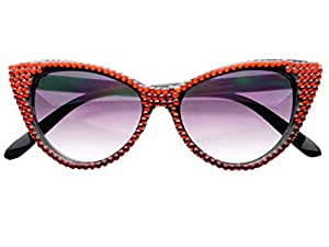 50b757e793 Womens Rare Retro Vintage Designer Celebrity Style Rhinestone Crystal Cat  Eye Sunglasses (Red)