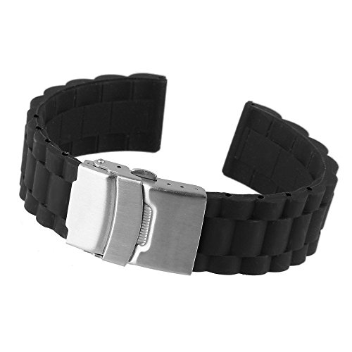 Beauty7 Black 22mm Soft Silicone Rubber Strap Watch Band Replacement Stainless Steel Deployment Clasp