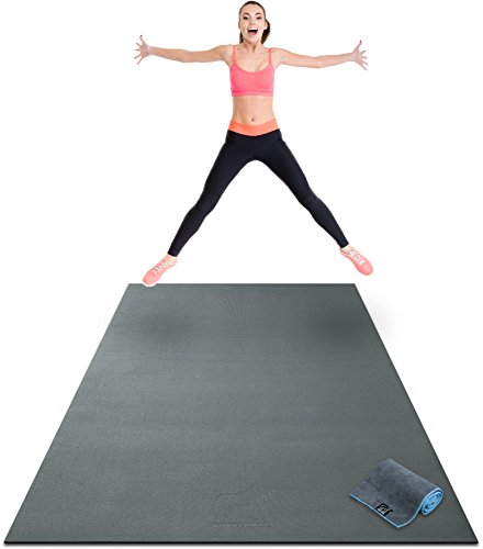 """Premium Extra Large Exercise Mat - 8' x 4' x 1/4"""" Ultra Durable, Non-Slip, Workout Mats for Home Gym Flooring - Jump, Cardio, MMA Mat - Use with or Without Shoes (96"""" Long x 48"""" Wide x 6mm Thick)"""