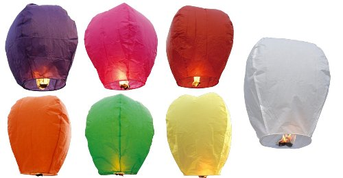 SKY LANTERNS 14 Pack - Assorted Colors