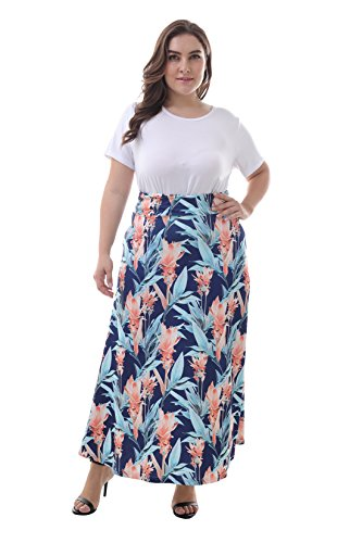 ZERDOCEAN Women's Plus Size High Waisted Bohemian Printed Long Skirt color811 1X