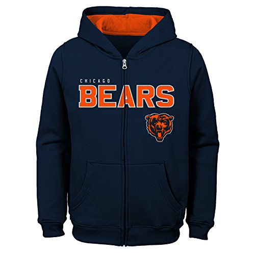 Bears Youth Apparel - NFL Chicago Bears Kids & Youth Boys Stated Full Zip Fleece Hoodie, Deep Obsidian, Kids Medium(5-6)