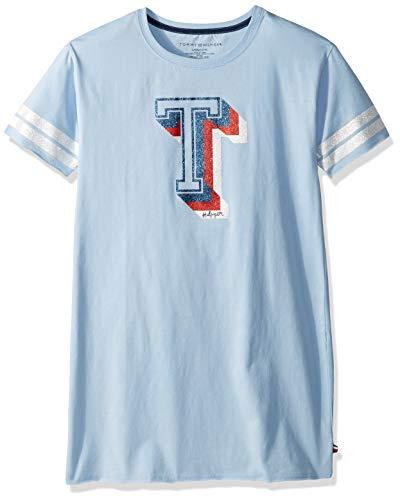 Tommy Hilfiger Big Girl's Big Girls' Short Sleeve Fashion Dress Dress, T shirt chambray blue, S7 ()