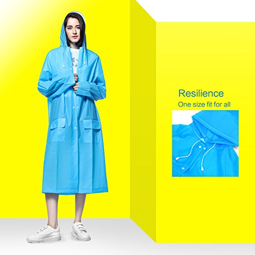 Rain Coat Waterproof Rainwear Poncho Rian Cape Jacket Emergency Reusable for adult man women unisex with Hood Strips and Sleeves Two Pockets Durable EVA Materials Lightweight Extra Long X-Large Size (Rainwear Poncho)