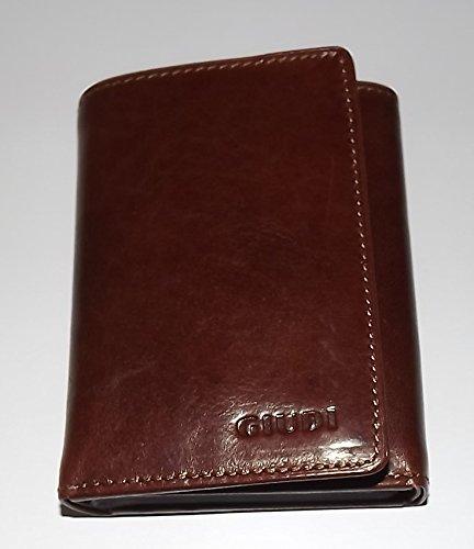 Giudi Italia Mens Tuscan Leather Trifold Credit Card Wallet Maroon