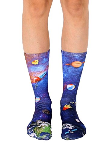 Outer Space Junk Unisex Polyester Stretch One Size Printed Crew Socks