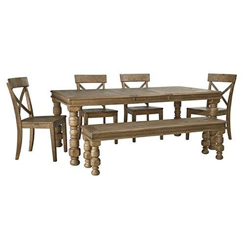 Ashley Trishley 6 Piece Dining Set in Light Brown