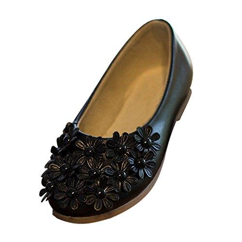 TOOGOO(R) Schwarze Kind Schuh Maedchen Schuh Prinzessin Maedchen Fashion Einzelschuh reizende PU-Blumen Blumenkindschuhe weiche alleinige lederne flache US8.5 = EU25 = CN26 = lang 16cm Schwarz